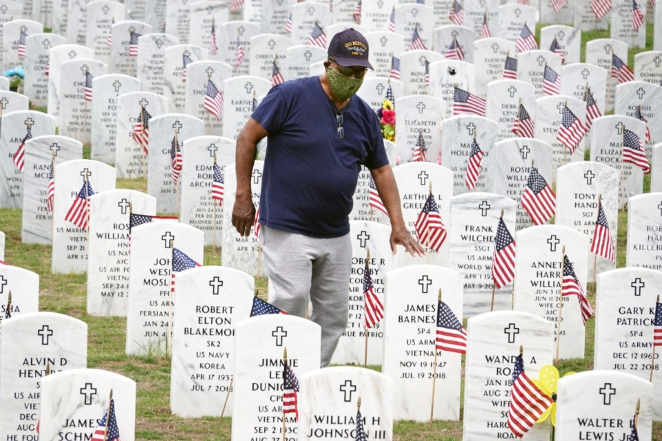 <strong>A veteran of the Korean conflict, Wilbert Coleman, 87, visits West Tennessee State Veterans Cemetery on Monday, May 18, 2020.</strong> (Karen Pulfer Focht/Special to the Daily Memphian)