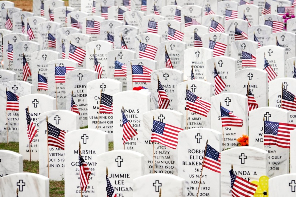 <strong>Every grave had a flag placed on at the West Tennessee State Veterans Cemeteryon Forest Hill-Irene Road, but there will be no Memorial Day ceremony this year due to concerns over COVID-19.</strong> (Karen Pulfer Focht/Special To The Daily Memphian)