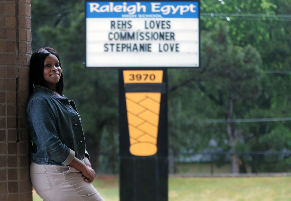 <strong>School can be a safe haven for many children who live in poverty or dysfunctional family situations, said County School Board member Stephanie Love, who was photographed outside Raleigh-Egypt High School. She represents part of Raleigh, Frayser and north Shelby County.&nbsp;</strong>(Patrick Lantrip/Daily Memphian)