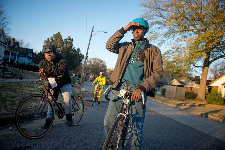 <strong>South Memphis Glide Ride teen ambassadors&nbsp;Montavious Dean, Joshua Muhammad and Jameel Muhammad bike through South Memphis.&nbsp;</strong>(Courtesy of Brandon Dill)