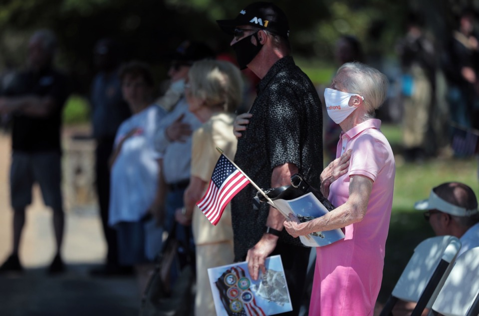 <strong>A small crowd gathered to pay their respects during a Memorial Day ceremony at Memorial Park Cemetery May 25, 2020.</strong> (Patrick Lantrip/Daily Memphian)