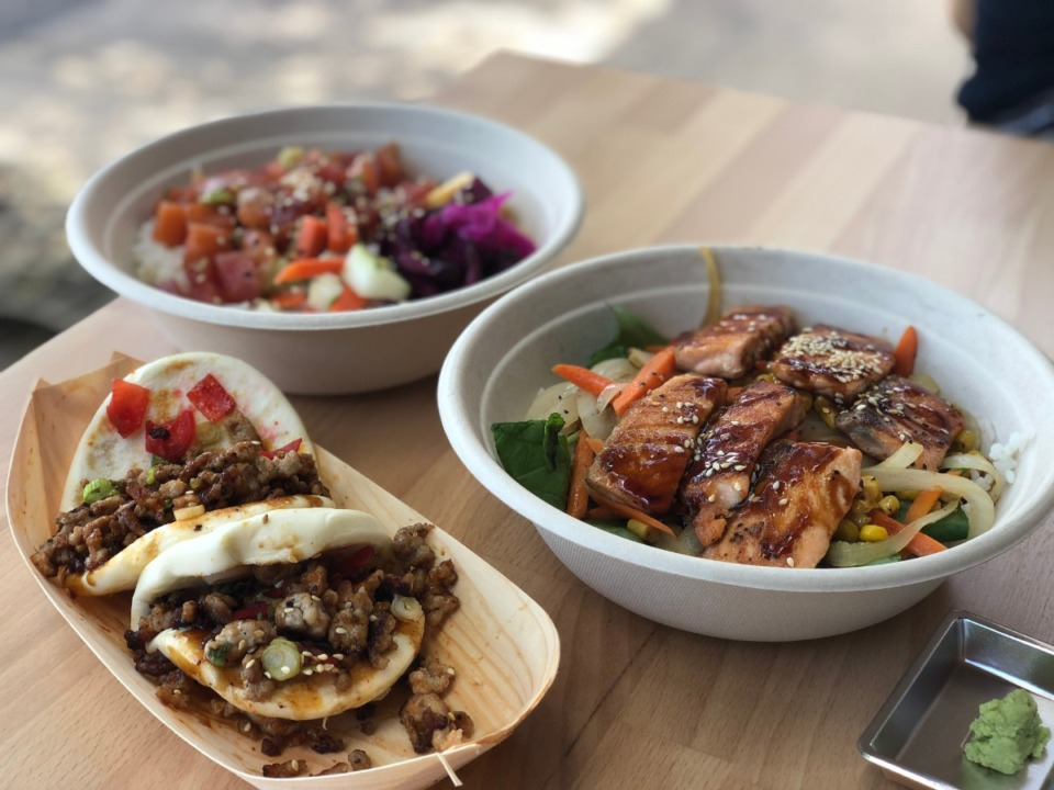 <strong>Pork bao, a sushi bowl and salmon teriyaki bowl are some standouts on the menu at Fam on Highland.</strong> (Jennifer Biggs/Daily Memphian)