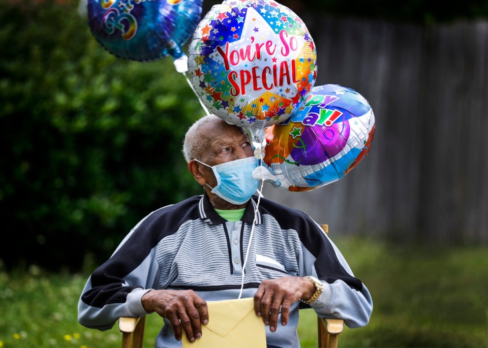 <strong>Renowned local saxophonist, Dr. Herman Green, celebrated his 90th birthday with a social distance parade on Wednesday, May 27, 2020.</strong> (Mark Weber/Daily Memphian)