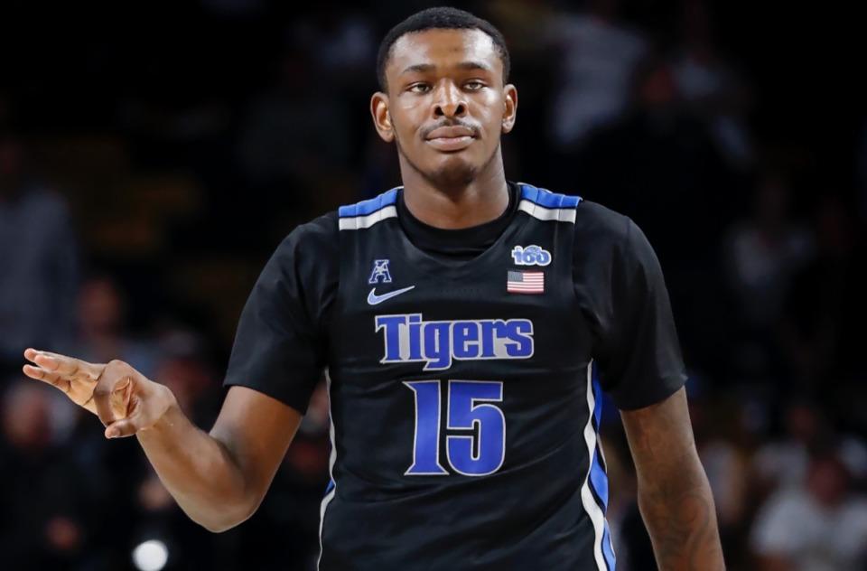 <strong>Memphis forward Lance Thomas celebrates a 3-point basket on Wednesday, Jan. 29, 2020 in Orlando.</strong> (Mark Weber/Daily Memphian)