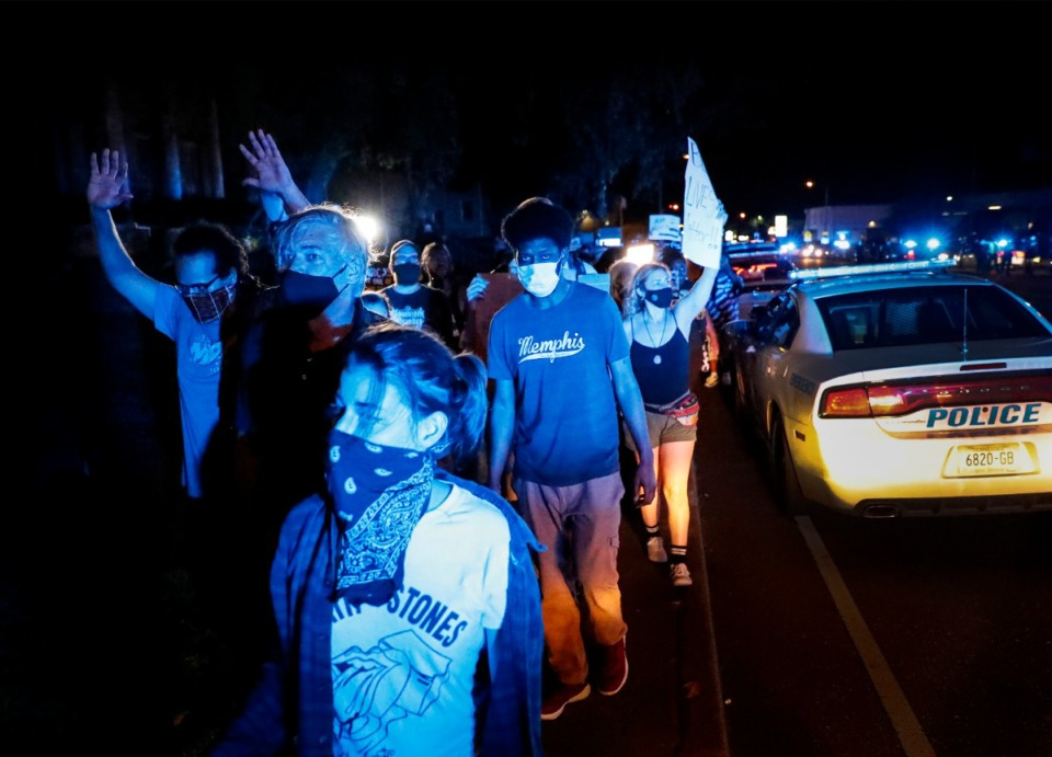 <strong>Protesters, rallying over the death of George Floyd in Minneapolis, march along Union Avenue on Wednesday, May 27, 2020.</strong> (Mark Weber/Daily Memphian)
