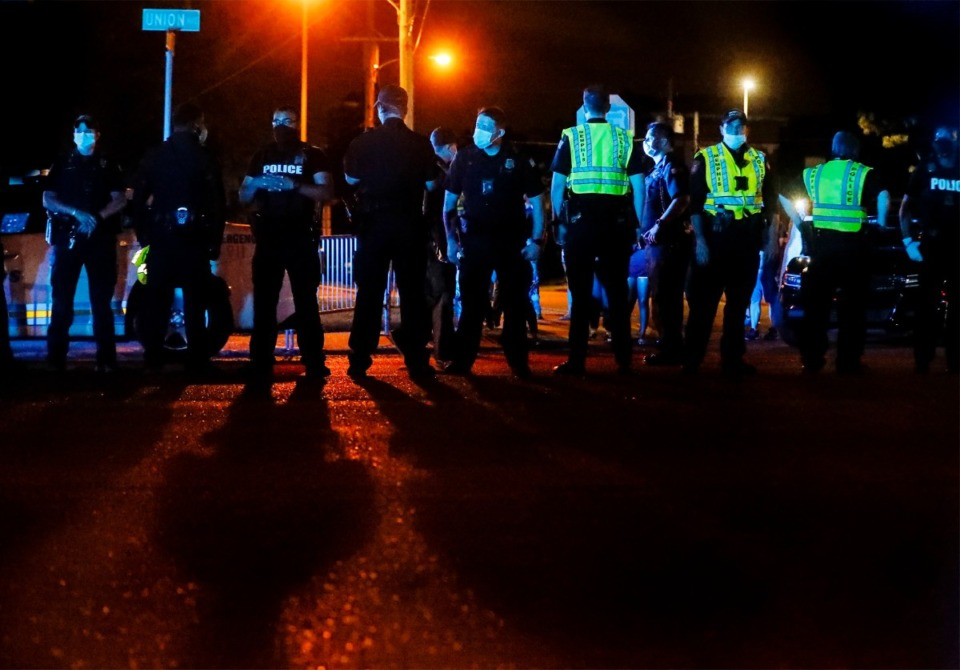 <strong>Memphis Police closed down a portion of Union Avenue on Wednesday, May 27, 2020 as demonstrators rallied in honor of George Floyd, who died at the hands of Minneapolis police.</strong> (Mark Weber/Daily Memphian)