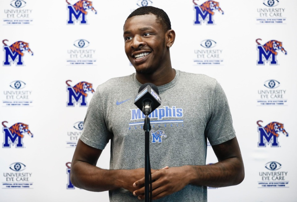 <strong>Memphis Tiger Lance Thomas speaks to the media during a press conference Thursday, June 27, 2019 at the Laurie-Walton Family Basketball Center.</strong> (Mark Weber/Daily Memphian)