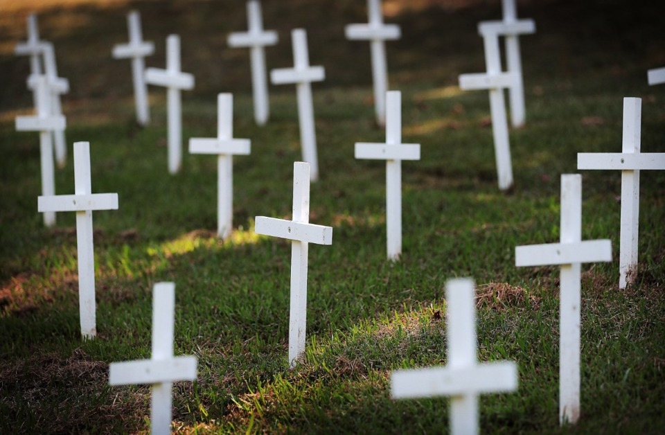 <strong>A clutch of small crosses; since the beginning of the local COVID-19 outbreak, more than 100 people have lost their lives.</strong> (Jim Weber/Daily Memphian file)