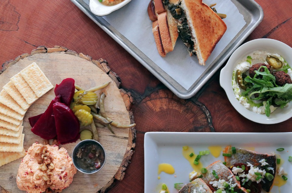 <strong>Not The Grove Grill's pimento cheese, saut&eacute;ed rainbow trout, black-eyed pea falafel and collard green melt sandwich from Magnolia &amp; May.&nbsp;</strong>(Patrick Lantrip/Daily Memphian)