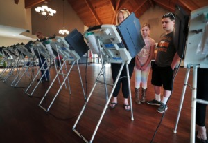 <strong>Voters cast their ballots on Super Tuesday, March 3, 2020, at the Reformed Presbyterian Church polling location in Germantown.</strong> (Jim Weber/Daily Memphian)