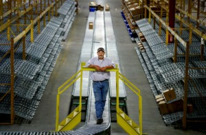 <strong>Valley Distribution and Logistics President Jeff Fick stands on an assembly line inside the company's new warehouse on Thursday, May 28, 2020. VDL recently moved into a vacant industrial building that was just sold by Belz Enterprises to Faropoint, an Israeli company that does a lot of investing in Memphis industrial property.</strong> (Mark Weber/Daily Memphian)