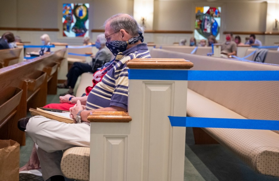 <strong>Every other pew is marked off to prevent crowding during the worship service at 2500 Ridgeway Road in East Memphis.</strong> (Greg Campbell/Special to The Daily Memphian)