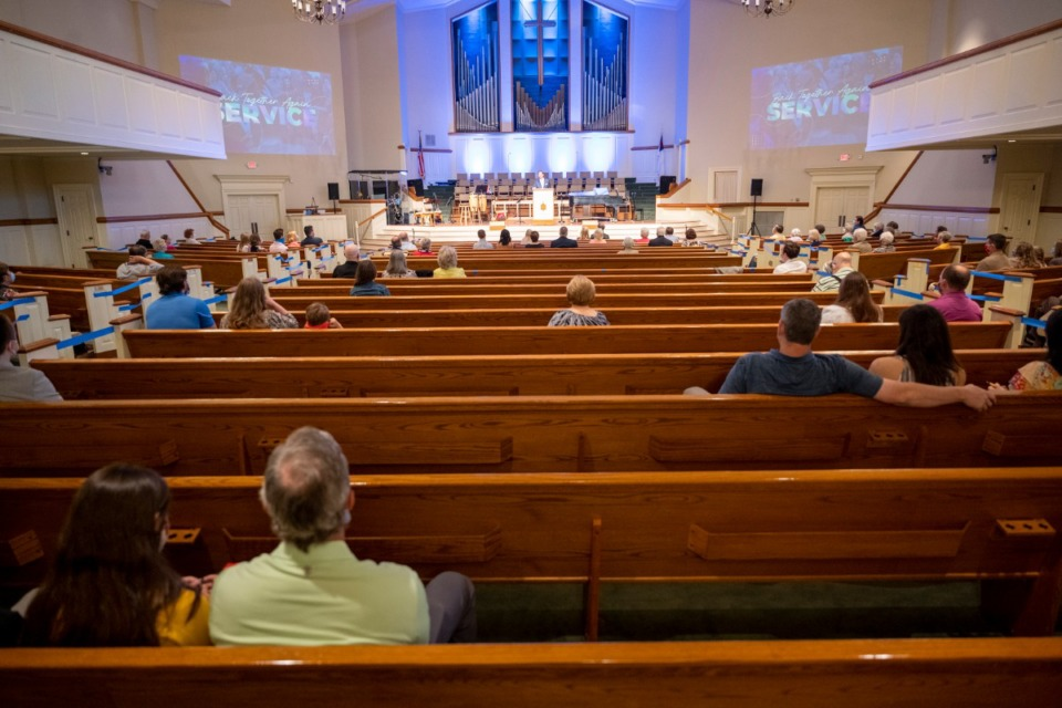 <strong>Members of Ridgeway Baptist Church practice social distancing&nbsp; during an in-person service on Sunday, May 31.</strong> (Greg Campbell/Special for The Daily Memphian)
