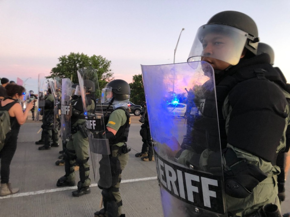 <strong>Riot police gather Downtown on Sunday evening, May 31, 2020.</strong> (Patrick Lantrip/Daily Memphian)