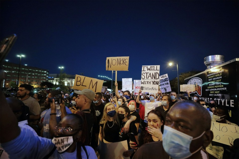 <strong>Eight people were arrested following protests Saturday, May 30, in Downtown Memphis.</strong> (Patrick Lantrip/Daily Memphian)