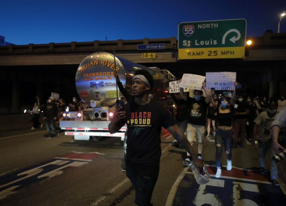 <strong>Protesters blocked traffic on Interstate 55 in Memphis on Sunday, May 31.</strong> (Patrick Lantrip/Daily Memphian)