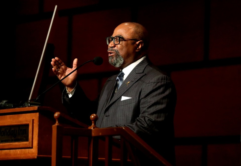 <strong>Greater Community Temple COGIC had its first limited in-person service on Sunday, May 31, according to Bishop Brandon Porter&nbsp;(at Mayor Jim Strickland's New Year's Eve prayer breakfast on Dec. 31, 2018.)</strong> (Houston Cofield/Daily Memphian file)