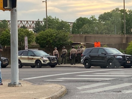 <strong>THP is in evidence around the Hernando de Soto Bridge Downtown June 1.</strong> (Bill Dries/Daily Memphian)