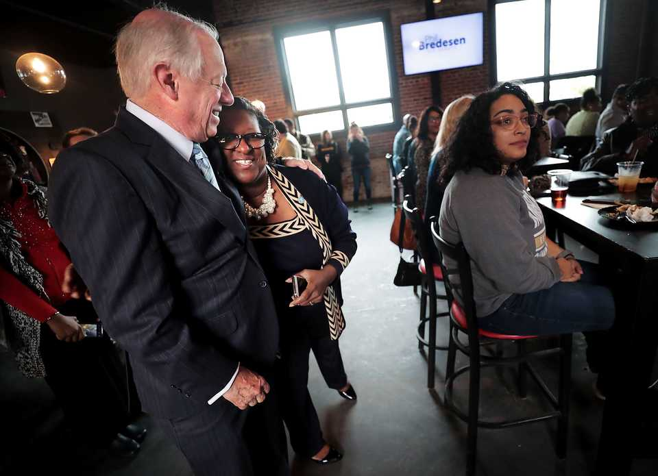 <strong>Rep. Karen Camper greets former Tennessee governor Phil Bredesen, who was campaigning in November in Memphis for U.S. Senate.&nbsp;</strong>(Jim Weber/Daily Memphian file)