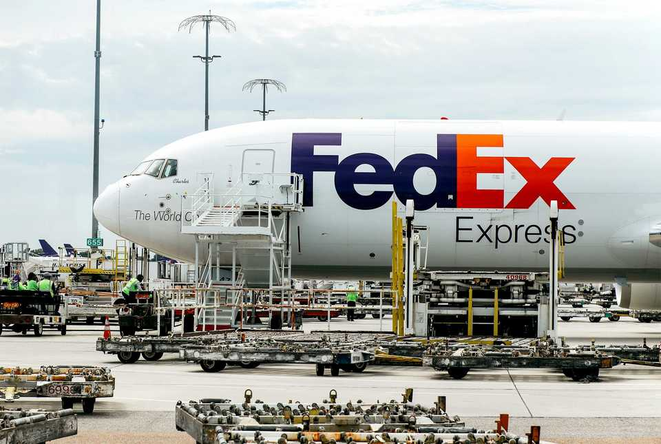 <strong>FedEx freight jets flood the FedEx World Hub to be loaded with cargo and fly out of Memphis on deliveries.&nbsp;</strong> (Houston Cofield/Daily Memphian)