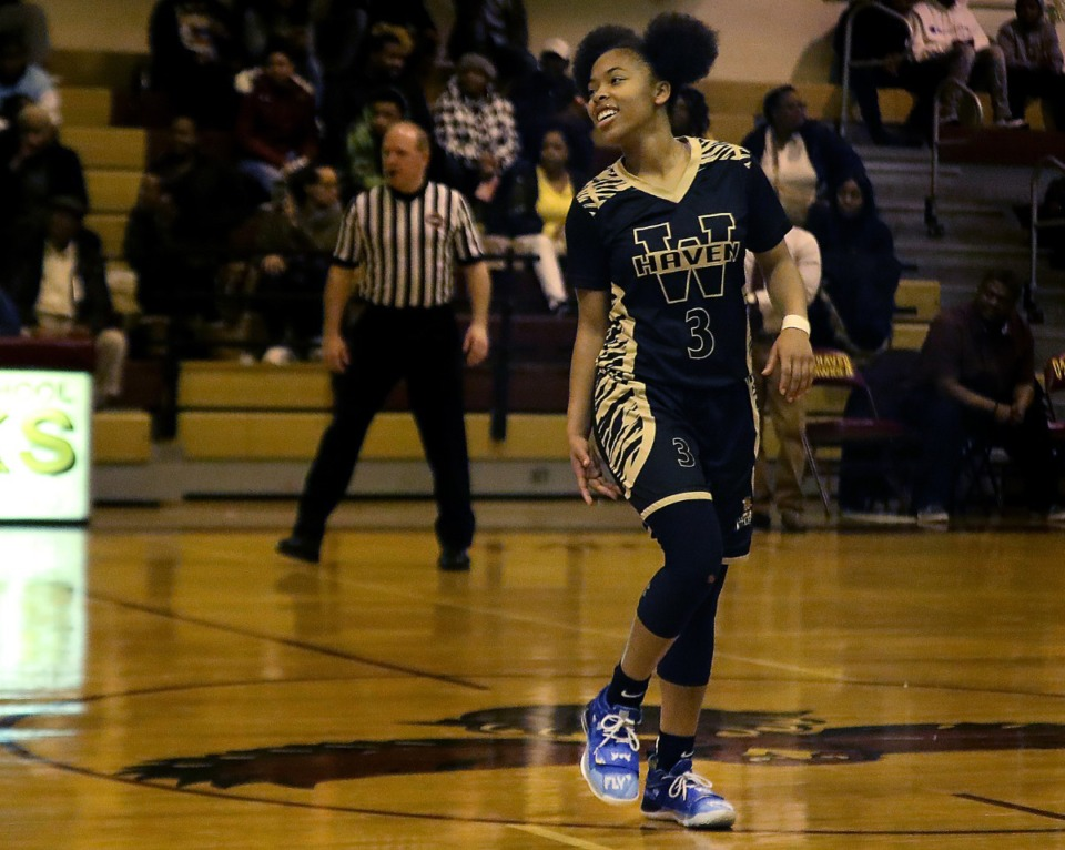 <strong>Whitehaven star point guard Se&rsquo;Quoia Allmond (shown during a game on Jan. 8, 2019) will play her final year at Royal Crown Academic School in Toronto. Allmond confirmed the move on Twitter.</strong> (Patrick Lantrip/Daily Memphian file)