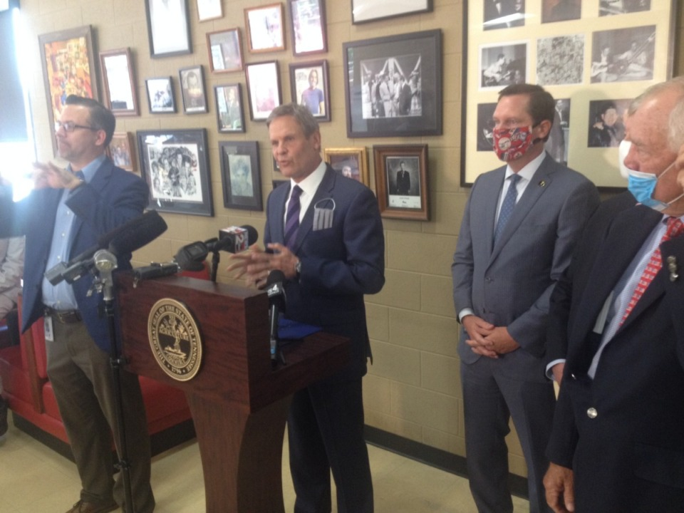 <strong>Gov. Bill Lee announces a $200 million relief program Tuesday, June 2, at Arnold's Country Kitchen in Nashville for small businesses forced shut down by the pandemic.</strong> (Sam Stockard/The Daily Memphian)