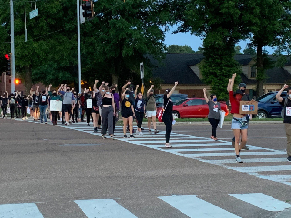 <strong>Protesters cross Germantown Parkway on Tuesday, June 2, 2020.</strong> (Abigail Warren/Daily Memphian)