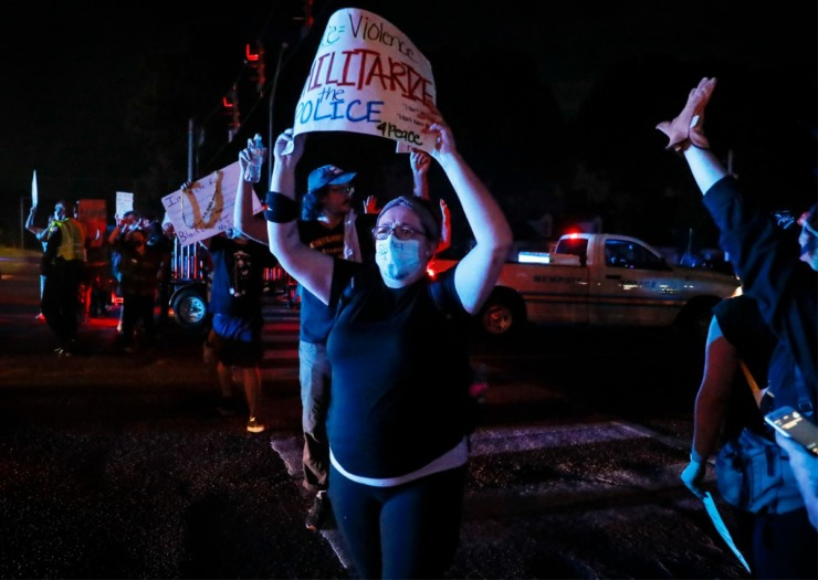 <strong>Protesters walk block traffic on Germantown Parkway Tuesday, June 2, 2020.</strong> (Mark Weber/Daily Memphian)