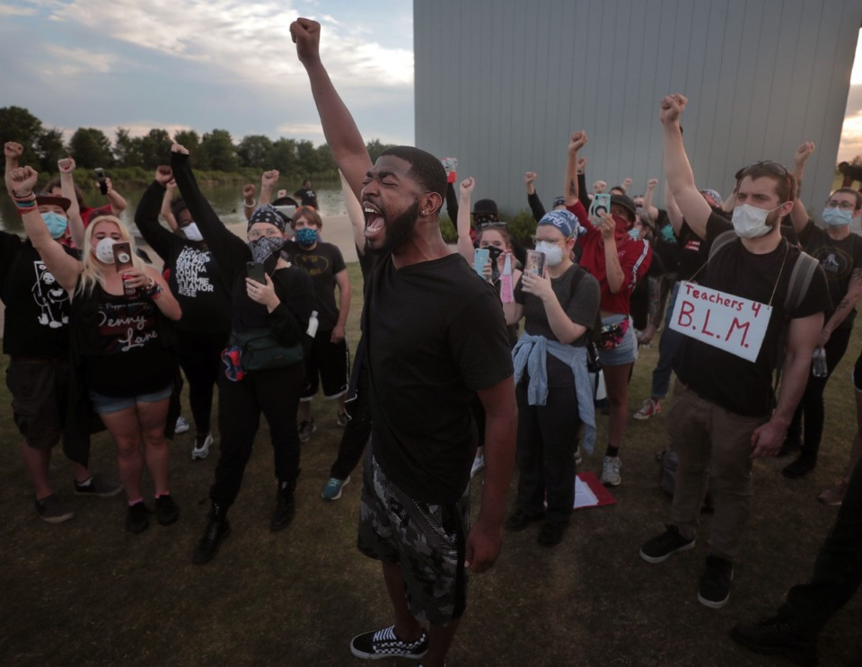 <strong>Darin Abston leads a group of protesters during a rally at Shelby Farms June 2, 2020.</strong> (Patrick Lantrip/Daily Memphian)