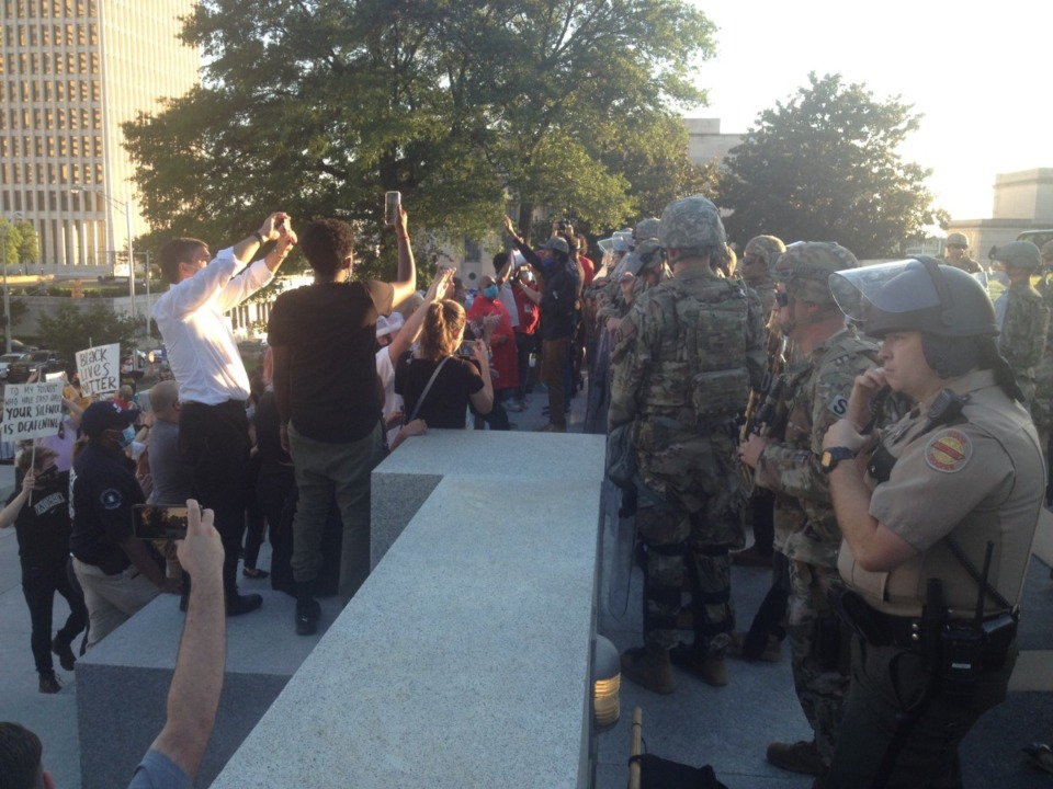 <span><strong>National Guard troops stand between protesters and the top of the State Capitol steps in Nashville on Monday, June 1.</strong> (Sam Stockard/Daily Memphian)</span>