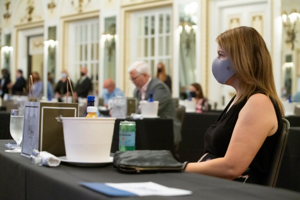<strong>Sally Pace listens to speakers during a Destination Marketing Review event at The Peabody Hotel in Downtown Memphis on June 3, 2020.</strong> (Ziggy Mack/Special to The Daily Memphian)