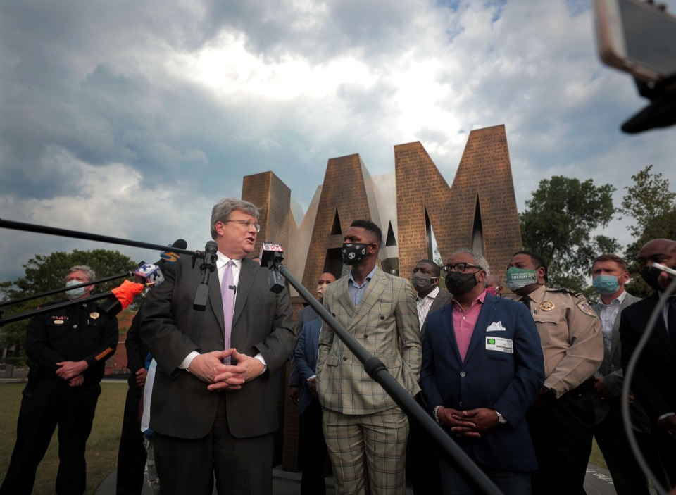 <strong>Memphis Mayor Jim Strickland and DeVante Hill spoke at a press conference at I Am A Man Plaza June 3, 2020.</strong> (Patrick Lantrip/Daily Memphian)