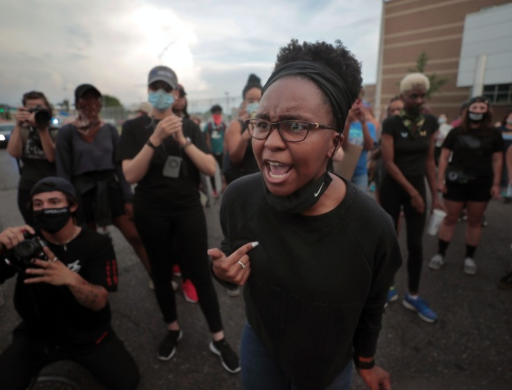 "<strong>A protester confronts another protester over the use of the term ""all lives matter"" during the eighth day of protesting over the murder of George Floyd June 3, 2020.</strong> (Patrick Lantrip/Daily Memphian)"