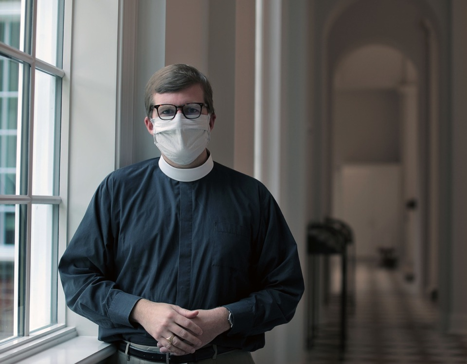 <strong>The Rev. Sandy Webb poses for a portrait inside the newly remodeled Church of the Holy Communion May 26, 2020.</strong> (Patrick Lantrip/Daily Memphian)