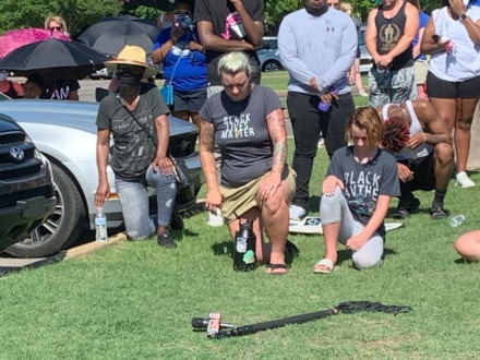 <strong>A&nbsp;mother and her daughter were two of about 200 people who sat quietly for two minutes in honor of George Floyd during an informational rally in W.C. Johnson Park June 6, 2020.&nbsp;</strong>(Abigail Warren/Daily Memphian)