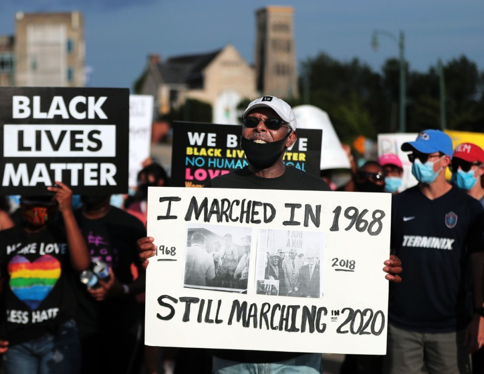 <strong>Protesters march down Martin Luther King Blvd. June 7, 2020 during the twelfth night of protests over the death of George Floyd.</strong> (Patrick Lantrip/Daily Memphian)