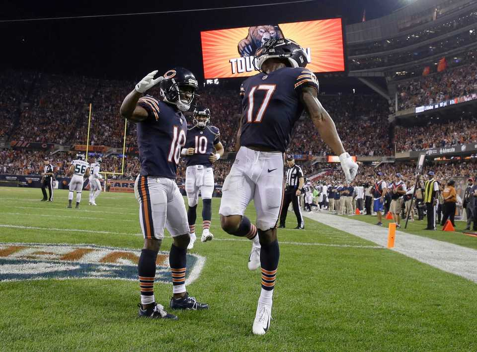 <strong>Chicago Bears wide receiver Anthony Miller (17) celebrates a touchdown with wide receiver Taylor Gabriel (18) during the second half of an NFL football against the Seattle Seahawks game Monday, Sept. 17, 2018, in Chicago.</strong> (AP Photo/David Banks)
