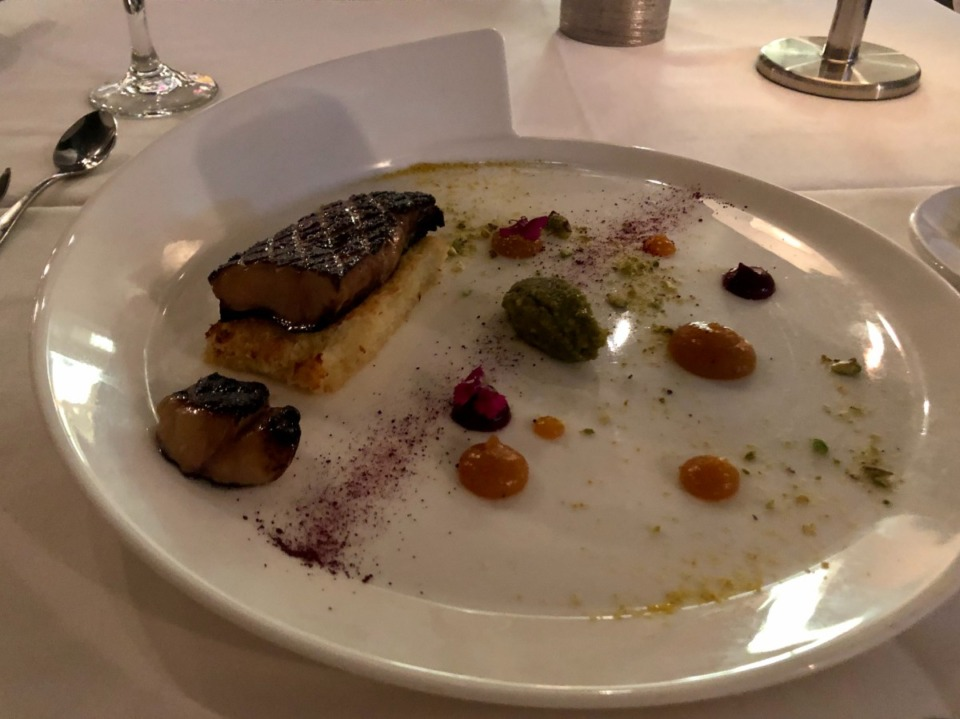 <strong>The foie gras at Erling's is served with apricot and beet puree.</strong> (Jennifer Biggs/Daily Memphian)