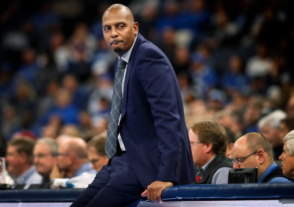 """<strong>Memphis head coach Penny Hardaway (watching action against Temple on Feb. 5)<span class=""""s1"""">&nbsp;moved back home to Memphis after his NBA retirement, when he could have moved far away. He worked with middle-schoolers to try and give them the hope and sense of possibility that our system does not.</span></strong>&nbsp;(Mark Weber/Daily Memphian file)"""
