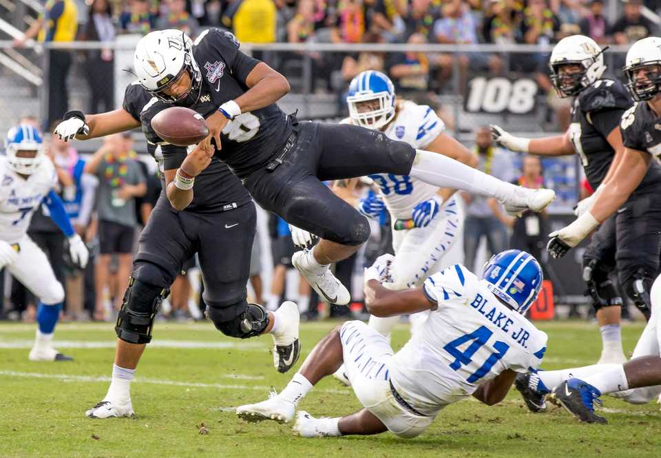 <strong>UCF Knights quarterback Darriel Mack Jr. (8) fumbles as he crosses the endzone during the AAC Championship football game between the UCF Knights and the University of Memphis Tigers on Dec. 1, 2018 in Orlando, Fla.</strong> (AP Photo/Andrew Bershaw)