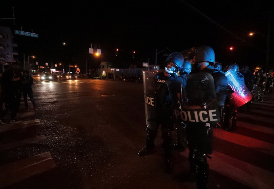 <strong>Memphis Police officers get in formation along Union Avenue during a May 28 protest over the killing of George Floyd in Minneapolis.</strong> (Patrick Lantrip/Daily Memphian)
