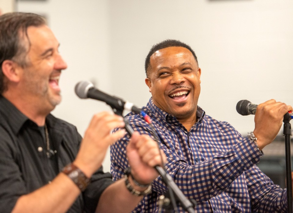 """<strong>Lance McDaniel (left) and Chris J have a laugh while rehearsing the song """"Skin""""&nbsp; on Wednesday, June 10. The song, written by McDaniel, was composed before the protests following the killing of George Floyd in Minneapolis.</strong> (Greg Campbell/Special to the Daily Memphian)"""