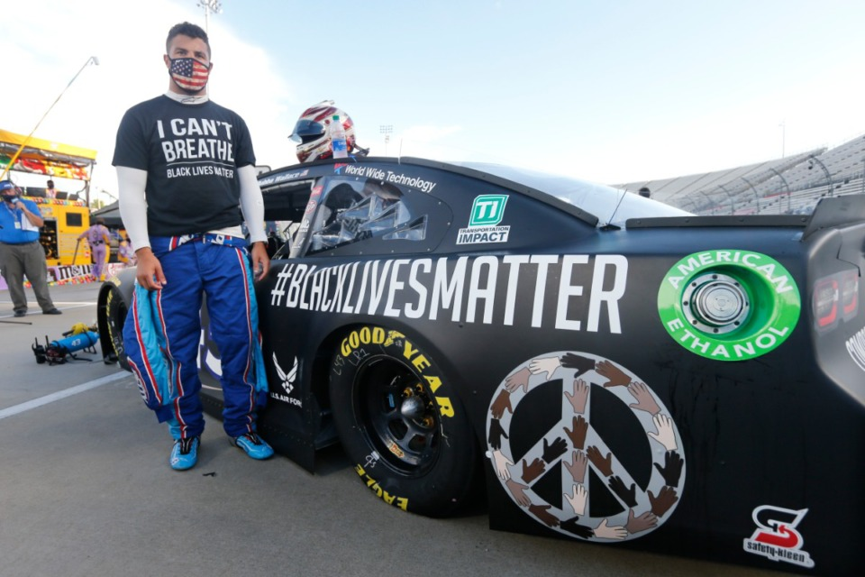 <strong>Driver Bubba Wallace (at the start of a NASCAR Cup Series auto race June 10, 2020, in Martinsville, Va.)&nbsp; has&nbsp; become the leader of NASCAR&rsquo;s push for change.</strong> (Steve Helber/AP)