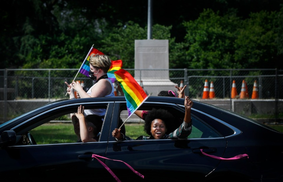 <strong>Hundreds took part in a LGBTQ pride ride on Saturday, June 13, 2020 through several neighborhoods on their way to the National Civil Rights Museum. They rode to support the end police brutality and advance the Pride movement.</strong> (Mark Weber/Daily Memphian)