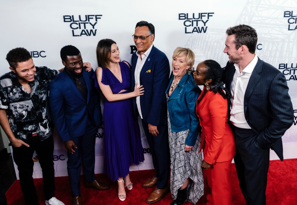 """<strong>(From left) Stony Blyden, Michael Luwoye, Caitlin McGee, Jimmy Smits, Jayne Atkinson, MaameYaa Boafo, and Barry Sloane gather for a group photo at the end of a red carpet event for the private screening of """"Bluff City Law"""" at the Halloran Theatre.</strong> (Daily Memphian file)"""
