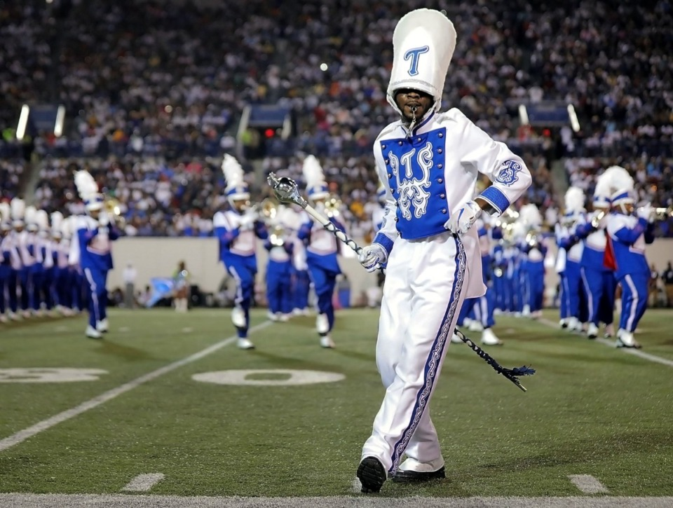 <strong>A Tennessee State University band leader dances in front of the TSU powder-blue formation during the halftime show for the 30th annual Southern Heritage Classic at the AutoZone Liberty Bowl Saturday, Sept. 14.</strong> (Patrick Lantrip/Daily Memphian file)