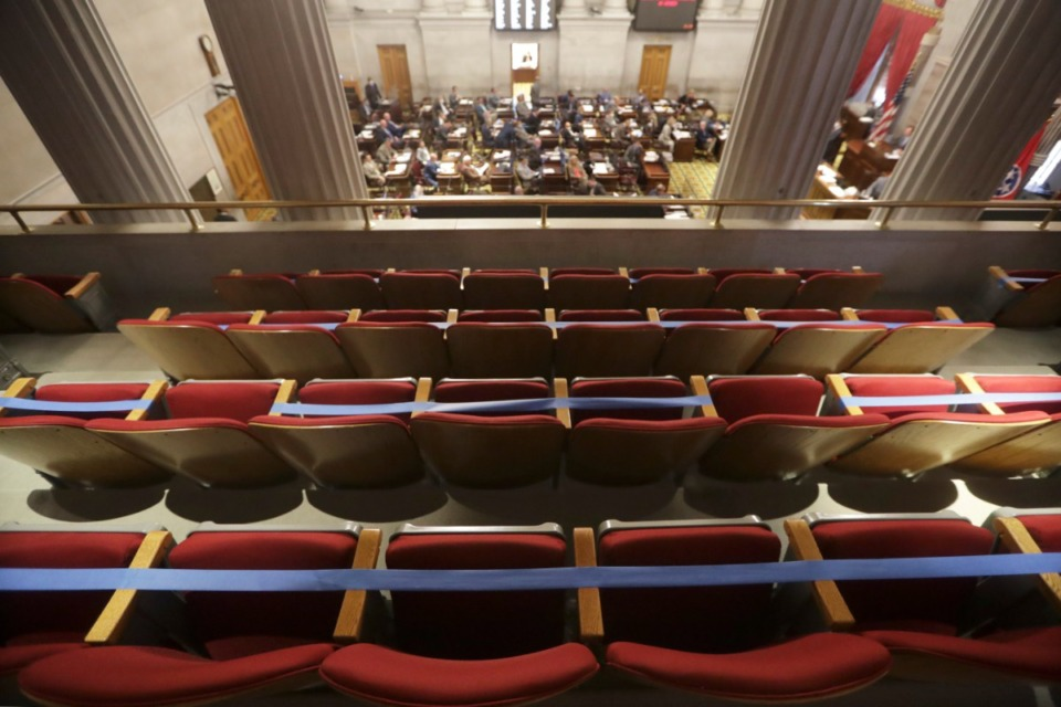 <strong>Seats in the gallery overlooking the House chamber are marked off due to the coronavirus pandemic during a House session Tuesday, June 9, 2020, in Nashville.</strong> (Mark Humphrey/AP)