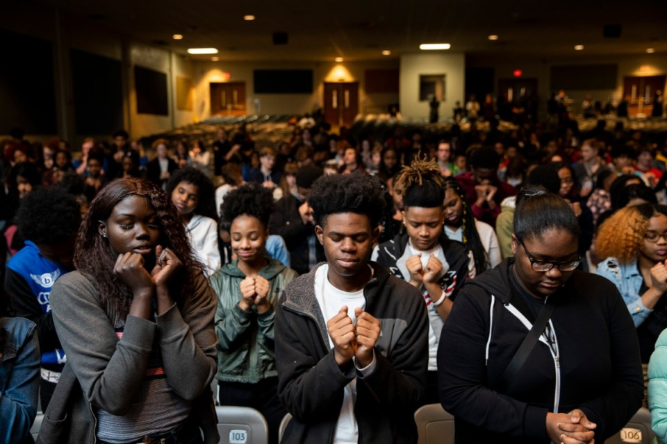<strong>On January 27th, 2020, Grounded launched a pilot curriculum program at East High School in Memphis, bringing artists, luminaries and partners together with over 500 students, faculty and staff members. The entire school loaded into buses and took a field trip to Malco Paradiso to view Grounded's unreleased film, &ldquo;Me and the Light.&rdquo;&nbsp; After the screening, The Grounded team spent the entire day with the students at East High connecting with them, engaging in discussion and sharing their own forms of creative expression. To close the day's events, East High students participated in a movement arts exercise to promote peace led by Memphis Jookers Lil Buck and Marico &ldquo;Dr. Rico&rdquo; Flake.</strong> (Photo by Andrea Morales)