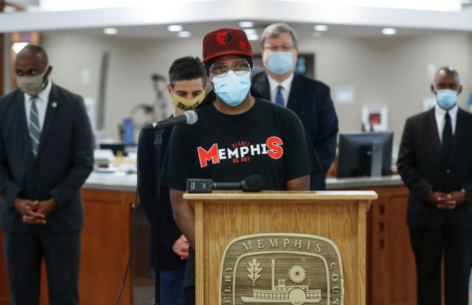 <strong>Rapper Al Kapone speaks at the&nbsp; Mask Up Memphis campaign on Monday, June 22, 2020 at Whitehaven Branch Library.&nbsp;The event encouraged residents to wear masks and reminded citizens of the availablity of free masks.</strong> (Mark Weber/Daily Memphian)