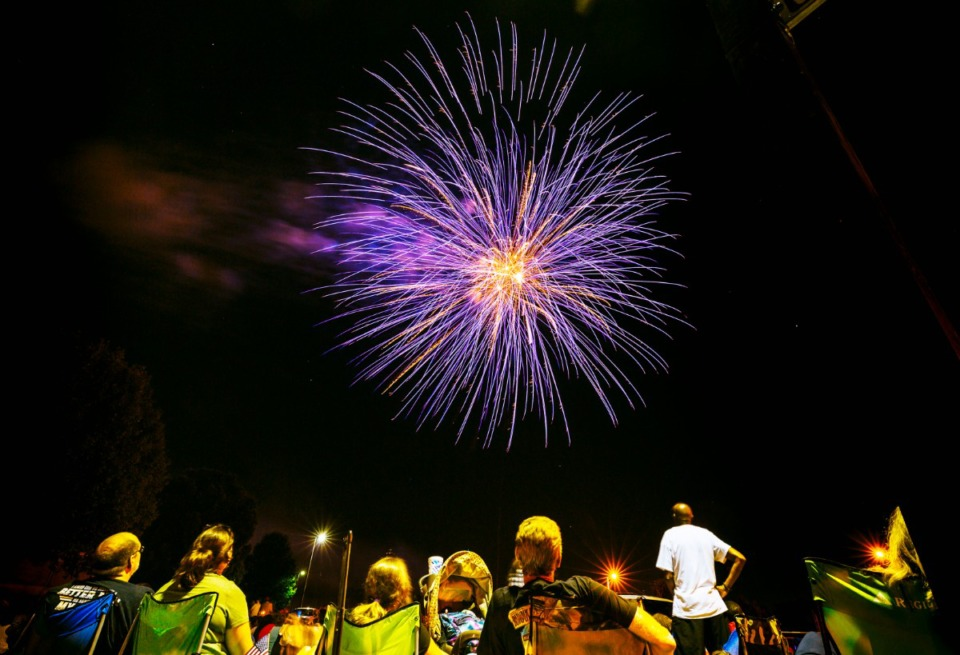 <strong>The number of fireworks complaints in Memphis between June 18 and June 22 jumped from just eight complaints last year to 238 this year. Pictured above is the annual fireworks show at Bartlett Municipal Center in 2019.</strong> (Ziggy Mack/Daily Memphian file)